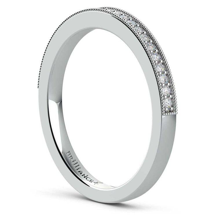 Vintage Milgrain Diamond Wedding Ring in White Gold   04