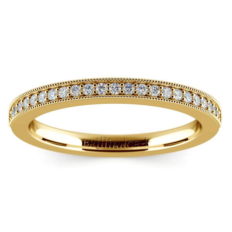 Vintage Milgrain Diamond Wedding Ring in Yellow Gold | 02