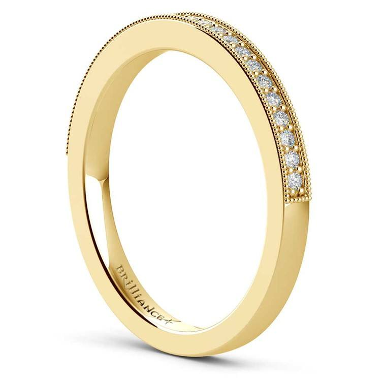 Vintage Milgrain Diamond Wedding Ring in Yellow Gold | 04