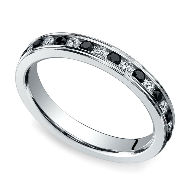 White & Black Diamond Eternity Ring in White Gold | 01
