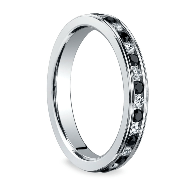White & Black Diamond Eternity Ring in White Gold | 02