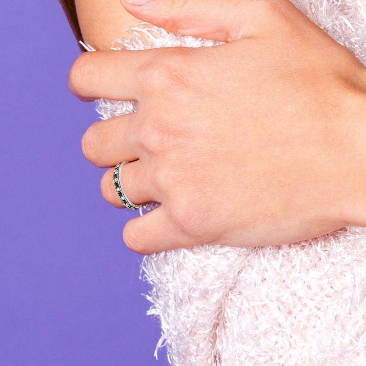 White & Black Diamond Eternity Ring in White Gold   04
