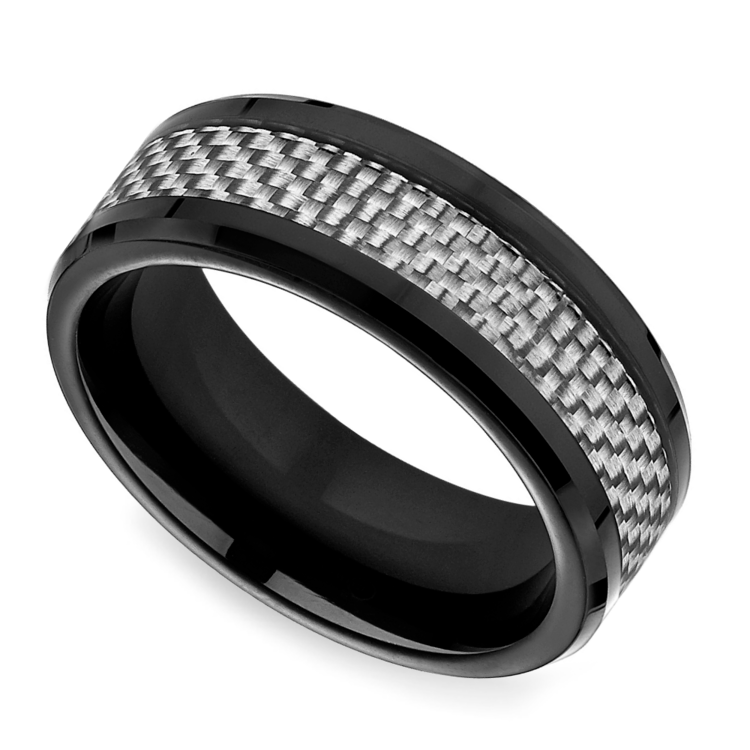 White carbon fiber men39s wedding ring in cobalt for Carbon fibre wedding ring