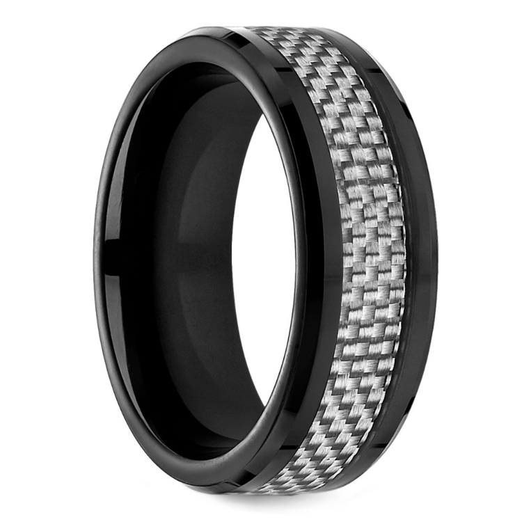 White Carbon Fiber Men's Wedding Ring in Cobalt | 02