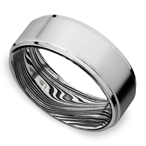 Urbanite - White Gold Mens Wedding Band with Machine Finish