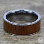 Wide Koa Wood Inlay Men's Wedding Ring in Tungsten | Thumbnail 04