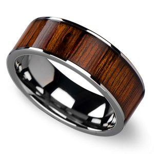 Wide Koa Wood Inlay Men's Wedding Ring in Tungsten