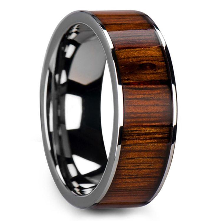 Wide Koa Wood Inlay Mens Wedding Ring in Tungsten