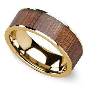 Wide Koa Wood Inlay Mens Wedding Ring In Yellow Gold