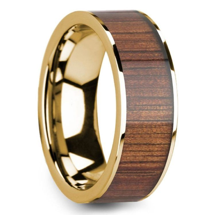 Wide Koa Wood Inlay Men's Wedding Ring in Yellow Gold | 02