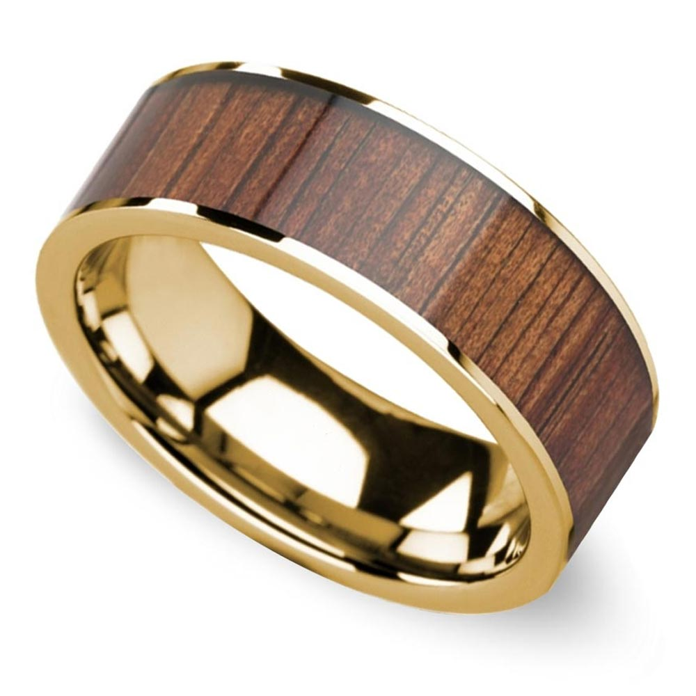 wide koa wood inlay mens wedding band yellow gold mens wedding rings wood