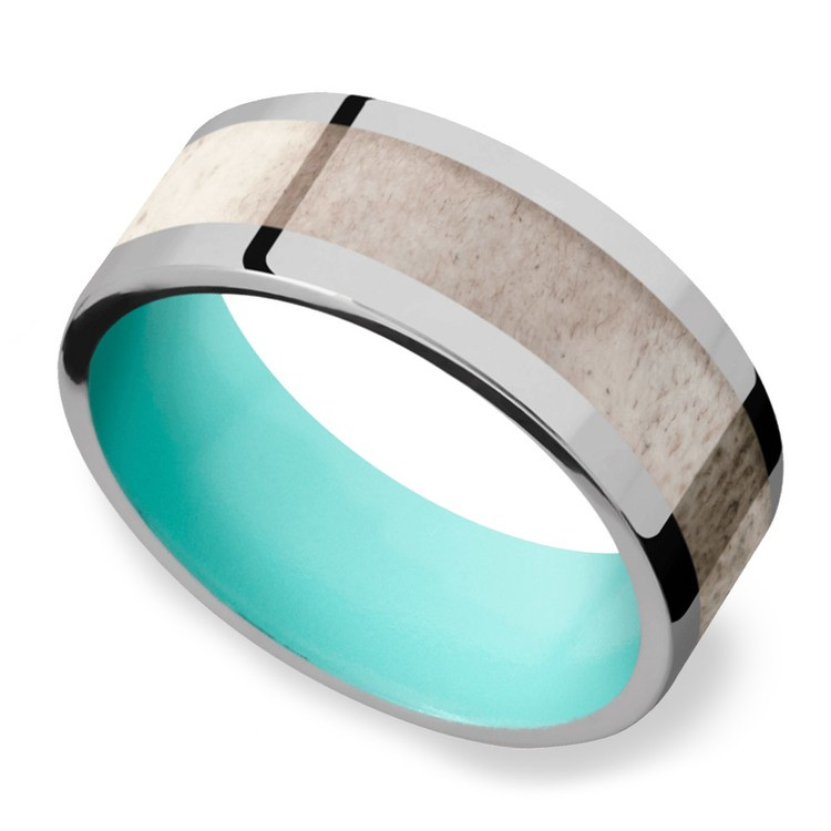 Wild - Titanium Mens Band with Antler Inlay | 01