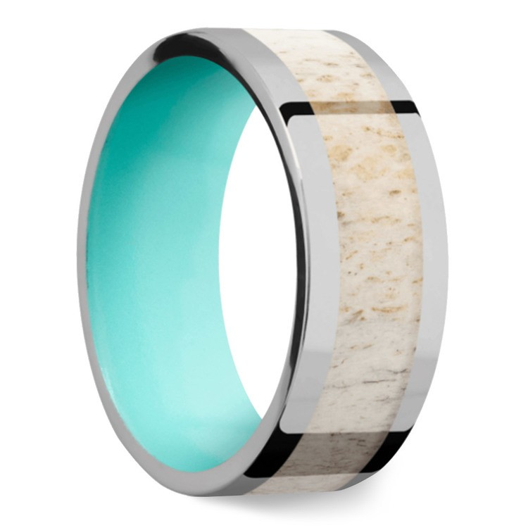 Wild - Titanium Mens Band with Antler Inlay | 02