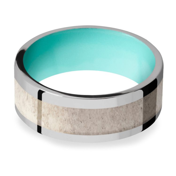 Wild - Titanium Mens Band with Antler Inlay | 03