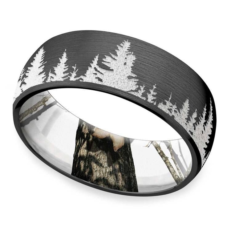 Wintery Night - Zirconium Mens Band With Mountain Carving & Camo Sleeve | 01