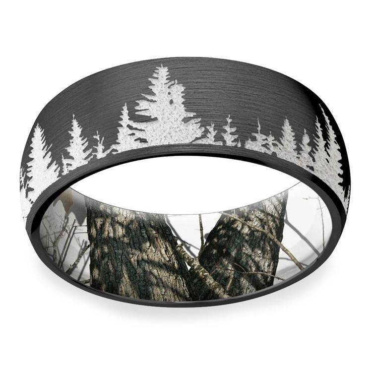 Wintery Night - Zirconium Mens Band With Mountain Carving & Camo Sleeve | 03