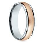 Wirebrush Men's Wedding Ring in White & Rose Gold   Thumbnail 02