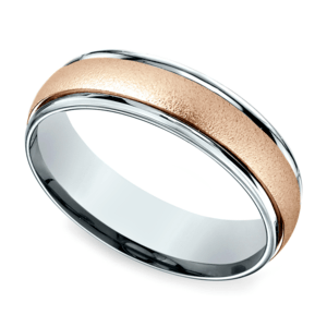 Wirebrush Men's Wedding Ring in White & Rose Gold