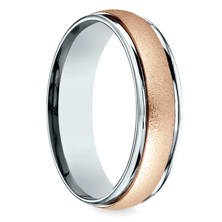 Wirebrush Men's Wedding Ring in White & Rose Gold   02