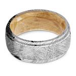 Triton - Damascus & Meteorite Mens Ring with Burl Wood Sleeve   Thumbnail 03