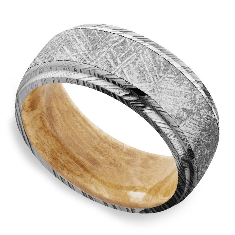 Triton - Damascus & Meteorite Mens Ring with Burl Wood Sleeve   01