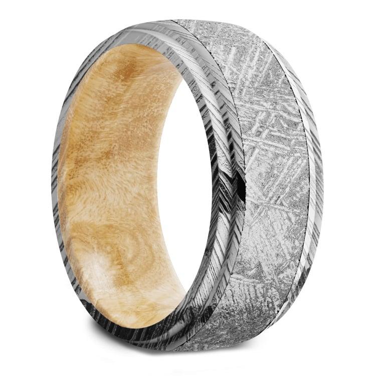 Triton - Damascus & Meteorite Mens Ring with Burl Wood Sleeve   02
