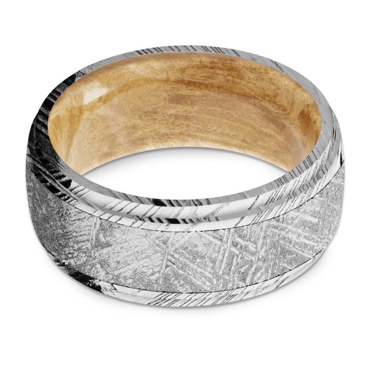Triton - Damascus & Meteorite Mens Ring with Burl Wood Sleeve   03