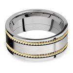 Woven Braid - 14k Yellow Gold & Cobalt Mens Wedding Band | Thumbnail 03