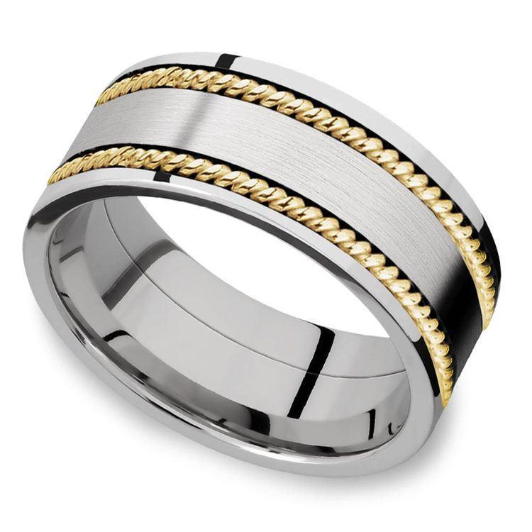 Woven Braid - 14k Yellow Gold & Cobalt Mens Wedding Band | 01