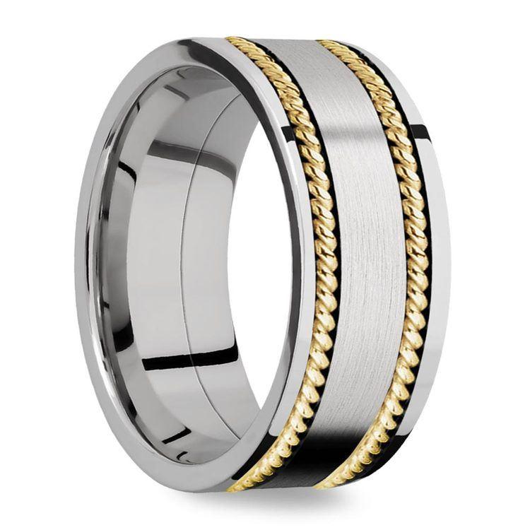 Woven Braid - 14k Yellow Gold & Cobalt Mens Wedding Band | 02