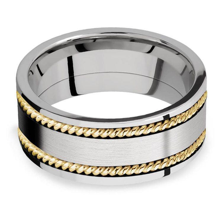 Woven Braid - 14k Yellow Gold & Cobalt Mens Wedding Band | 03