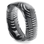 Woven Pattern Square Men's Wedding Ring in Damascus Steel | Thumbnail 02