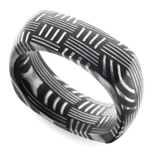 Woven Pattern Square Men's Wedding Ring in Damascus Steel