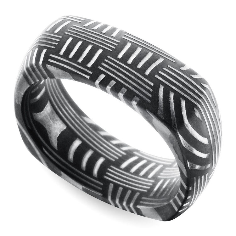 Woven Pattern Square Men's Wedding Ring in Damascus Steel | 01