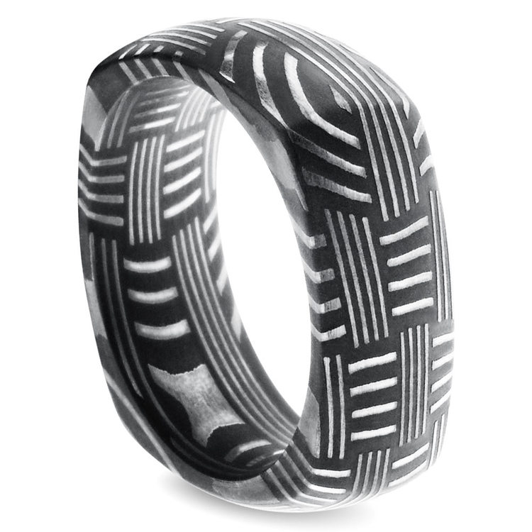 Woven Pattern Square Men's Wedding Ring in Damascus Steel | 02