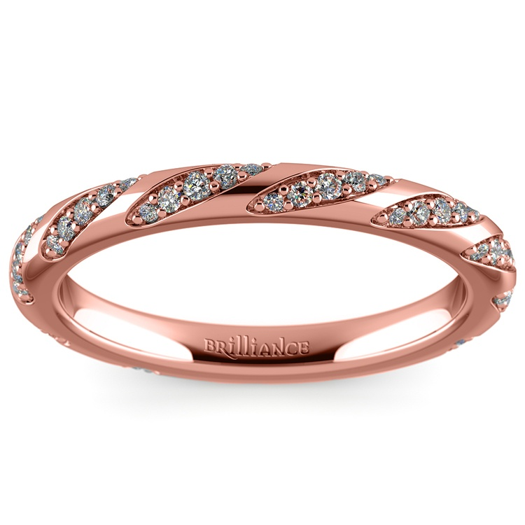 Wrapped Ribbon Diamond Wedding Band in Rose Gold | 02