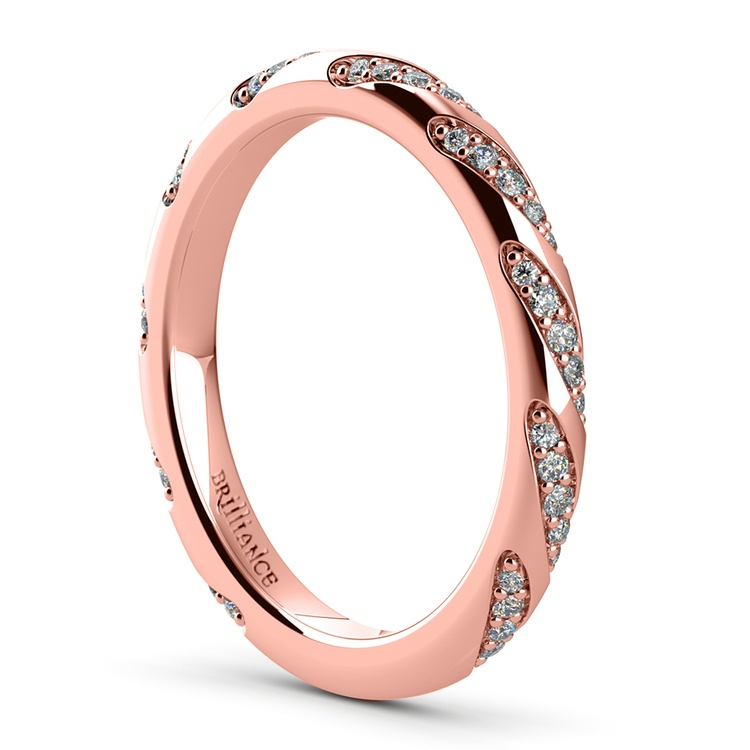 Wrapped Ribbon Diamond Wedding Band in Rose Gold | 04