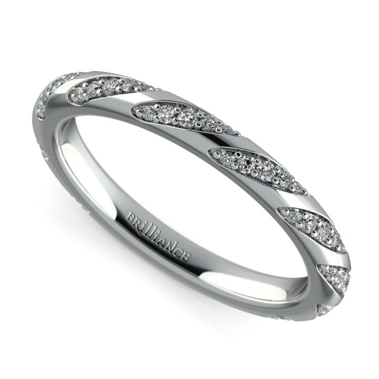Wrapped Ribbon Diamond Wedding Band in White Gold | 01
