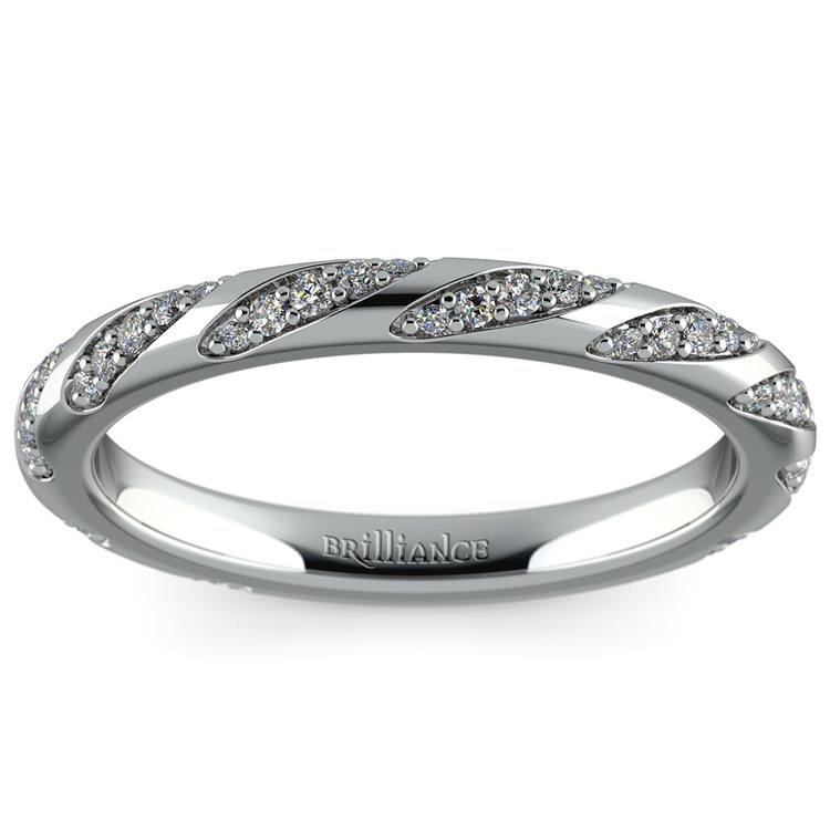 Wrapped Ribbon Diamond Wedding Band in White Gold | 02