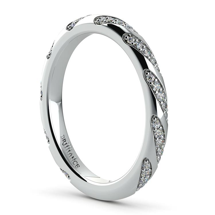 Wrapped Ribbon Diamond Wedding Band in White Gold | 04