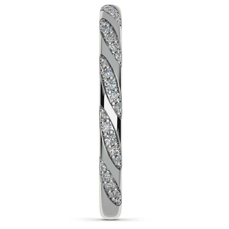 Wrapped Ribbon Diamond Wedding Band in White Gold | 05