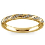 Wrapped Ribbon Diamond Wedding Band in Yellow Gold | Thumbnail 02