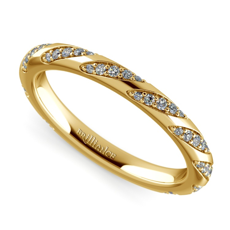 Wrapped Ribbon Diamond Wedding Band in Yellow Gold | 01