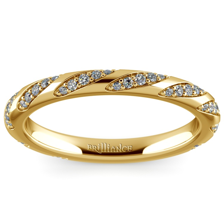 Wrapped Ribbon Diamond Wedding Band in Yellow Gold | 02
