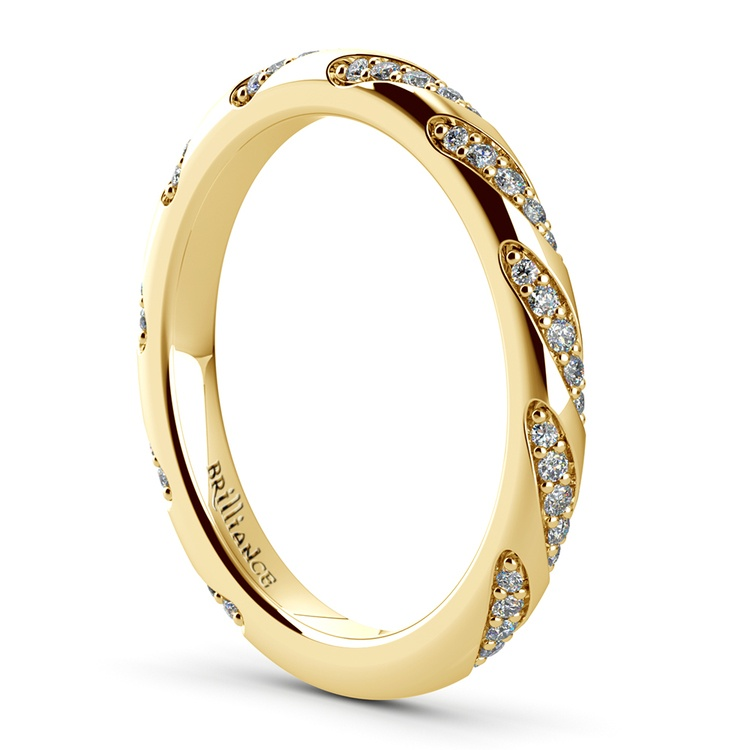 Wrapped Ribbon Diamond Wedding Band in Yellow Gold | 04