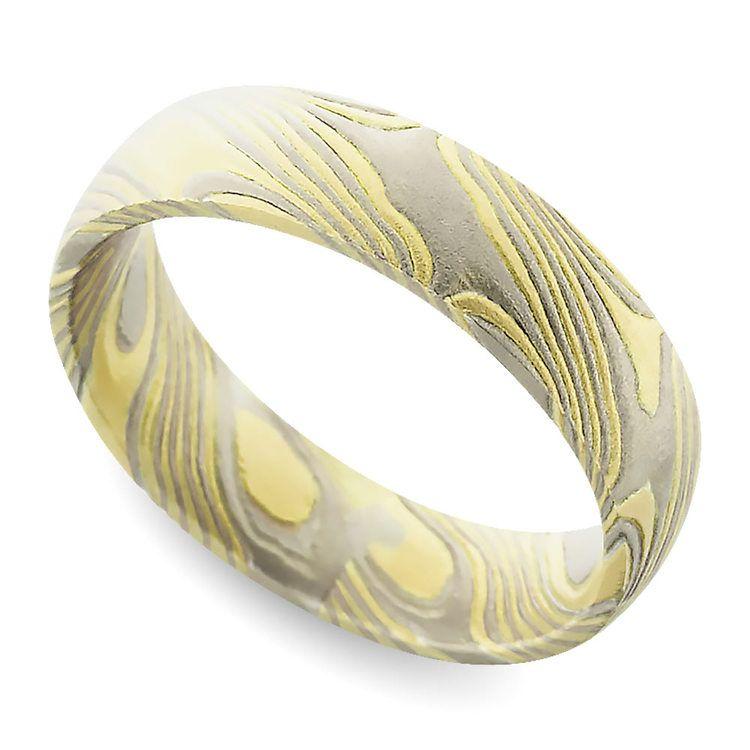 Yellow Base Mokume Gane Comfort Fit Men's Wedding Ring | 01