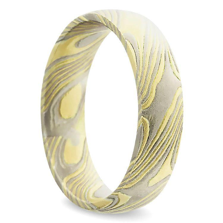 Yellow Base Mokume Gane Comfort Fit Men's Wedding Ring | 02