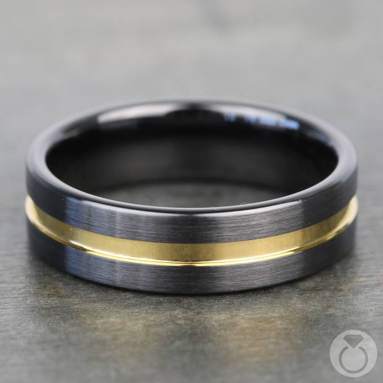 Black Ceramic Men's Wedding Ring with Yellow Groove (6mm) | 04
