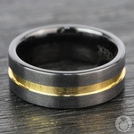 Black Ceramic Wedding Ring with Yellow Gold Groove (8mm) | Thumbnail 04