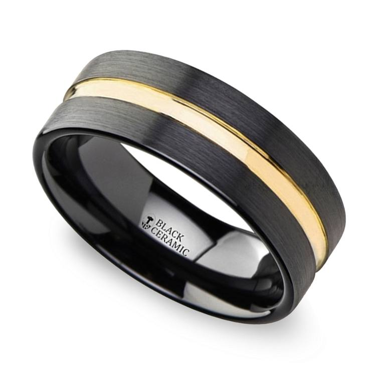 Black Ceramic Wedding Ring with Yellow Gold Groove (8mm) | 01